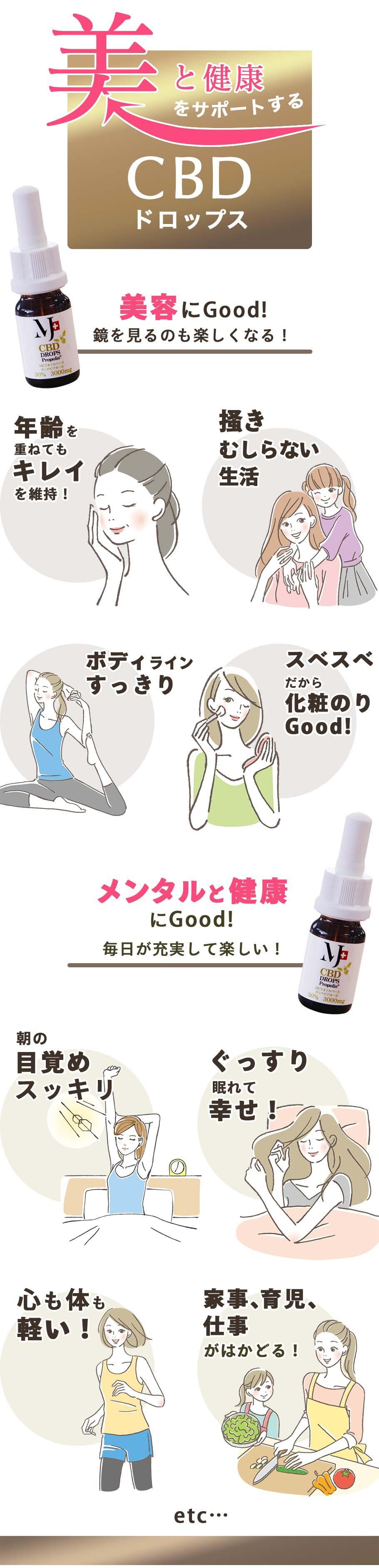 美をサポートするCBDドロップス。いつの間にか、毎日が充実。鏡を見るのも楽しく!目覚めスッキリ、お肌の調子がいい!エイジングケア、ストレスケアに!ダイエットにも効果的